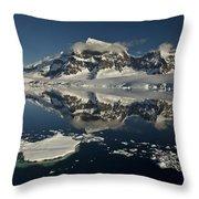 Luigi Peak Wiencke Island Antarctic Throw Pillow by Colin Monteath