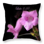 Luke 7 35 Pink Penstemon Flower Throw Pillow