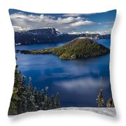 Luminous Crater Lake Throw Pillow