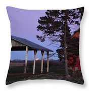 Lunar Eclipse At The Farm Throw Pillow