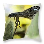 Lunch With A Roadrunner  Throw Pillow