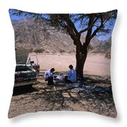 Lunchtime In The Desert Of Sinai Throw Pillow