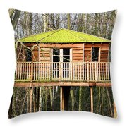 Luxury Tree House In The Woods Throw Pillow