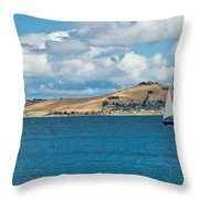 Luxury Yacht Sails In Blue Waters Along A Summer Coast Line Throw Pillow