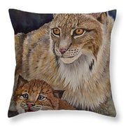 Lynx Mom And Baby Throw Pillow