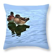 Ma And Pa Wood Duck Throw Pillow