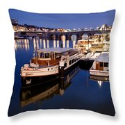 Maastricht Jetty On Maas River Throw Pillow