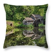 Mabry Mill And Pond With Reflection Throw Pillow