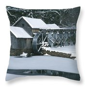 Mabry Mill Winter Throw Pillow by Joe Elliott