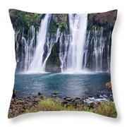 Macarthur-burney Falls Panorama Throw Pillow