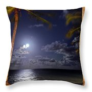 Maceio - Brazil - Ponta Verde Beach Under The Moonlit Throw Pillow