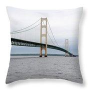 Mackinac Bridge From Water 2 Throw Pillow