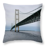 Mackinac Bridge From Water Throw Pillow