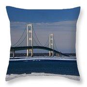 Mackinac Bridge In Winter 2 Throw Pillow