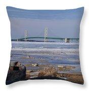 Mackinac Bridge Southwest Throw Pillow