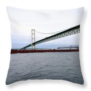 Mackinac Bridge With Ship Throw Pillow