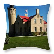 Mackinac Island Lighthouse Throw Pillow