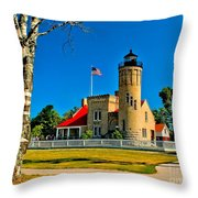 Mackinac Point Light Throw Pillow