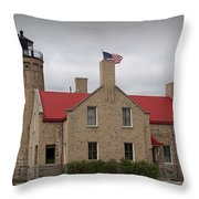 Mackinaw City Lighthouse Number 2446 Throw Pillow