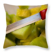 Macro Photo Of Knife Over Bowl Of Cut Musk Melon Throw Pillow