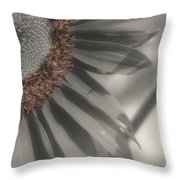 Macro Sunflower In Partial Color Throw Pillow