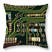 Macro View Of A Computer Motherboard Throw Pillow