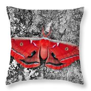 Madam Moth - Red White And Black Throw Pillow