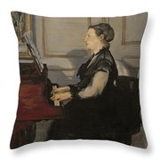 Madame Manet At The Piano Throw Pillow