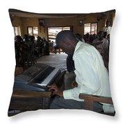 Madona Playing Piano In Nigerian Church Throw Pillow