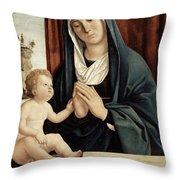 Madonna And Child - Late 15th To Early 16th Century  Throw Pillow by Giovanni Battista Cima da Conegliano