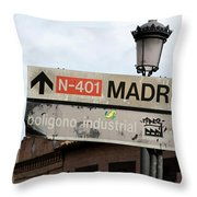 Madrid Street Sign Throw Pillow