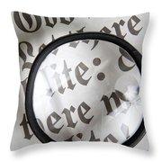 Magnifying News Throw Pillow
