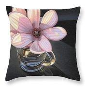 Magnolia Blossom In Glass Mug Throw Pillow
