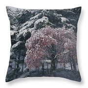 Magnolia Blossoms And Conifers Throw Pillow