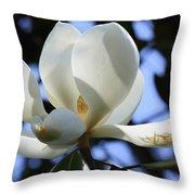 Magnolia In Blue Throw Pillow