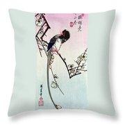 Magpie, 19th Century Throw Pillow