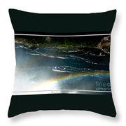 Maid Of The Mist And Rainbow At Niagara Falls Throw Pillow