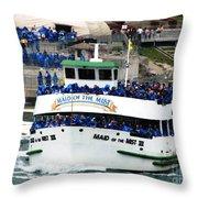 Maid Of The Mist Boat At Niagara Falls Throw Pillow