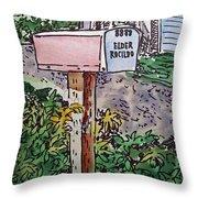 Mailbox Sketchbook Project Down My Street Throw Pillow by Irina Sztukowski