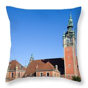 Main Railway Station In Gdansk Throw Pillow