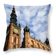 Main Town Hall In Gdansk Throw Pillow