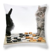 Maine Coon Kitten And Black Rabbit Throw Pillow