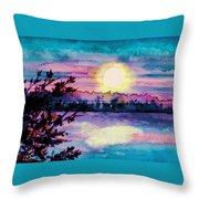 Maine October Sunset Throw Pillow