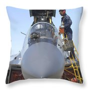 Maintainers Prepare A Sukhoi Su-30 Throw Pillow