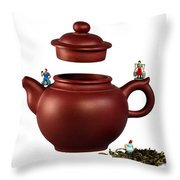 Making Green Tea On A Clay Teapot Throw Pillow by Paul Ge