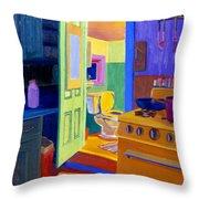 Malden Bathroom 1977 Throw Pillow