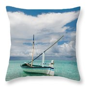 Maldivian Boat Dhoni On The Peaceful Water Of The Blue Lagoon Throw Pillow
