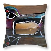 Male Wood Duck Throw Pillow