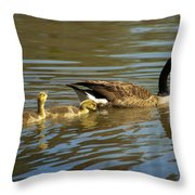 Mama Honker And Goslings Throw Pillow