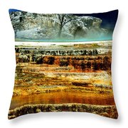 Mammoth Terrace - Yellowstone Throw Pillow by Ellen Heaverlo